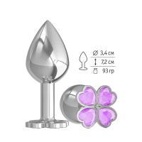 Средняя серебристая анальная втулка с клевером из сиреневых кристаллов - 8,5 см.